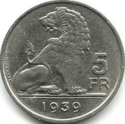 Монета > 5франка, 1938-1939 - Белгия  (Legend - 'BELGIE - BELGIQUE') - reverse
