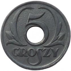 Coin > 5groszy, 1939 - Poland  (Zinc /gray color/) - reverse
