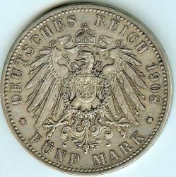 Moneda > 5marcos, 1902-1908 - Alemán (Imperio)  - reverse
