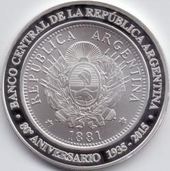 Pièce > 1peso, 2015 - Argentine  (80ème anniversaire - Banque centrale d'Argentine) - obverse