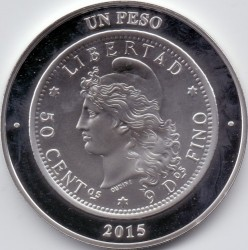Pièce > 1peso, 2015 - Argentine  (80ème anniversaire - Banque centrale d'Argentine) - reverse