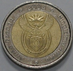 Coin > 5 rand, 2004 - South Africa  - obverse