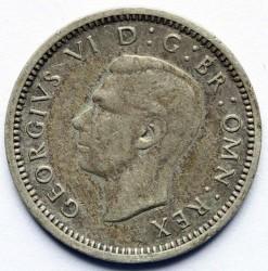 錢幣 > 3便士, 1937-1944 - 英國  (Silver /gray color/) - obverse
