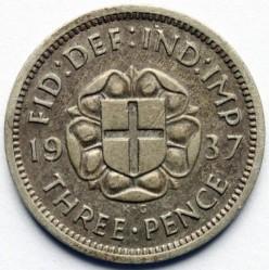 錢幣 > 3便士, 1937-1944 - 英國  (Silver /gray color/) - reverse