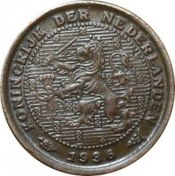 Monedă > ½cent, 1909-1940 - Regatul Țărilor de Jos  - obverse