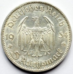 5 Reichsmark 1934 Potsdam Garrison Church Deutschland Drittes