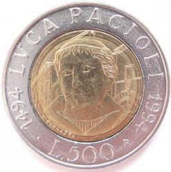 Coin > 500lire, 1994 - Italy  (500th Anniversary - Birth of Luca Pacioli) - reverse