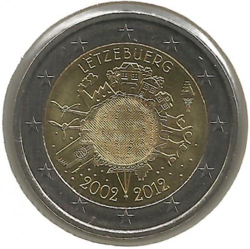 2 Euro 2012 10 Jahre Euro Bargeld Luxemburg Münzen Wert Ucoinnet