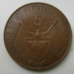 Moneda > 5francos, 1964-1965 - Rwanda  - obverse