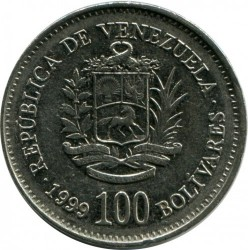 Moneta > 100bolivarų, 1999 - Venesuela  - obverse