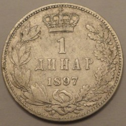 Монета > 1динар, 1897 - Сербия  - obverse