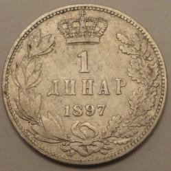 Монета > 1динар, 1897 - Сербия  - reverse