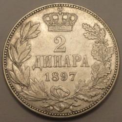 Монета > 2динара, 1897 - Сербия  - reverse