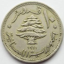 Монета > 10пиастров, 1961 - Ливан  - obverse