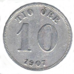 Münze > 10Öre, 1907 - Schweden   - obverse