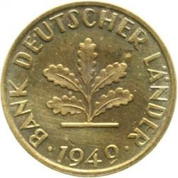 Coin > 5 pfennig, 1949 - Germany  - reverse