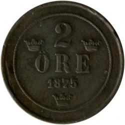 Mynt > 2ore, 1874-1878 - Sverige  - reverse