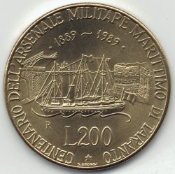 سکه > 200لیره, 1989 - ایتالیا  (100th Anniversary - Military Naval Base at Taranto) - obverse