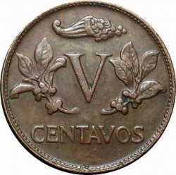 Coin > 5 centavos, 1967-1979 - Colombia  - reverse