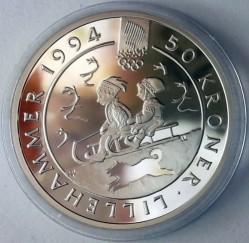 Moneta > 50corone, 1992 - Norvegia  (XVII Winter Olympic Games, Lillehammer 1994 - Children on Sleds) - reverse