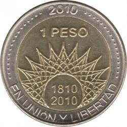 Moneda > 1peso, 2010 - Argentina  (Bicentenario de Argentina - Mar del Plata) - reverse