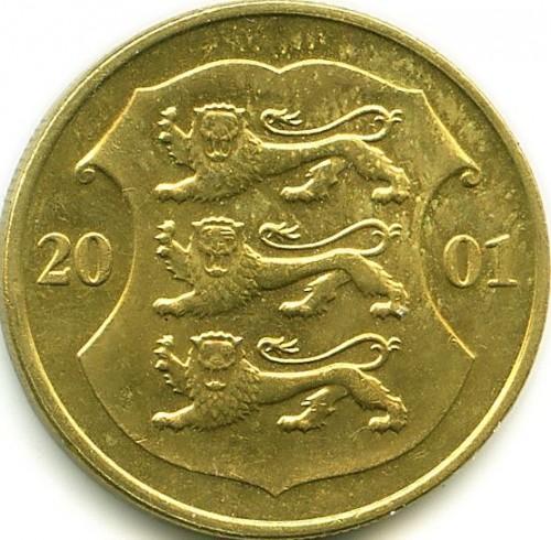Eesti vabariik 1 kroon 2001 медные монеты екатерины 2 стоимость
