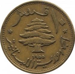 Moneta > 10piastrų, 1955 - Libanas  (Laivas ir medis centre) - obverse