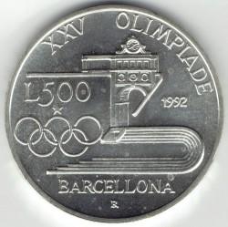 Moneta > 500lire, 1992 - Italia  (XXV Giochi olimpici estivi, Barcellona 1992) - reverse
