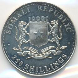 Moneta > 250szylingów, 2001 - Somalia  (Czasy się zmieniają - Michał Anioł, Święta Rodzina) - obverse