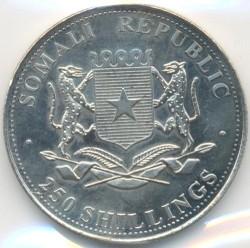 Moneda > 250chelines, 2001 - Somalia  (Times Change - Claude Monet, Bain à la Grenouillère) - obverse