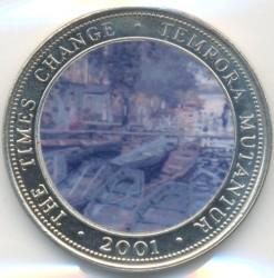 Moneda > 250chelines, 2001 - Somalia  (Times Change - Claude Monet, Bain à la Grenouillère) - reverse