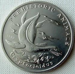Монета > 4ріали, 1993 - Камбоджа  (Доісторичні тварини - Криптоклід) - reverse