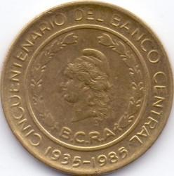 سکه > 50پزو, 1985 - آرژانتین  (50th Anniversary - Central Bank) - obverse