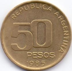 سکه > 50پزو, 1985 - آرژانتین  (50th Anniversary - Central Bank) - reverse