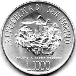 Moneta > 1000lire, 1978 - San Marino  (150° anniversario - Nascita di Lev Tolstoj) - obverse