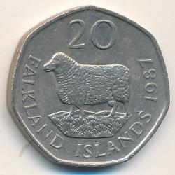Кованица > 20пенија, 1982-1999 - Фокландска Острва  - reverse