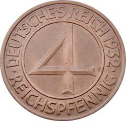 Münze > 4Reichspfennig, 1932 - Deutschland  - reverse