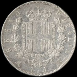 Moneta > 5lirów, 1861-1878 - Włochy  - obverse