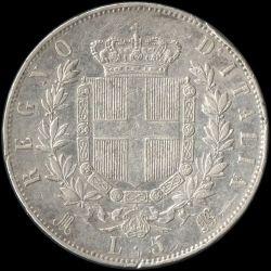 Moneta > 5lirów, 1861-1878 - Włochy  - reverse