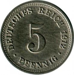 Кованица > 5фенинга, 1890-1915 - Немачка  - obverse