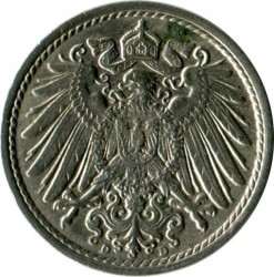 Кованица > 5фенинга, 1890-1915 - Немачка  - reverse