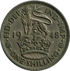 錢幣 > 1 先令, 1947-1948 - 英國  (English crest, lion standing atop the crown) - obverse