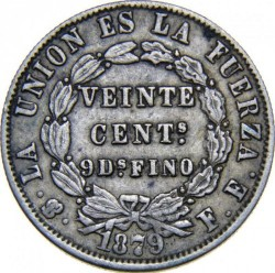 Moneda > 20centavos, 1872-1885 - Bolivia  - reverse