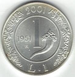 سکه > 1لیره, 2001 - ایتالیا  (History of the Lira - Lira of 1951) - reverse