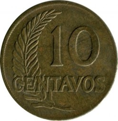 Minca > 10centavos, 1945-1965 - Peru  - obverse