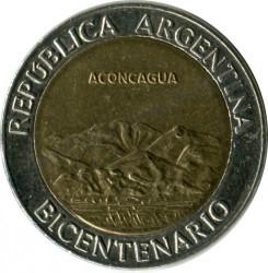 Moneda > 1peso, 2010 - Argentina  (Bicentenario de Argentina - Cerro Aconcagua) - reverse