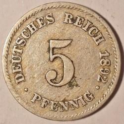 5 Pfennig 1892 Deutschland Münzen Wert Ucoinnet