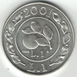 سکه > 1لیره, 2001 - ایتالیا  (History of the Lira - Lira of 1946) - obverse