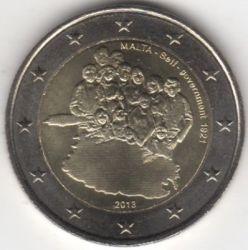 Moneta > 2euro, 2013 - Malta  (Storia costituzionale - Istituzione del Governo autonomo nel 1921) - reverse