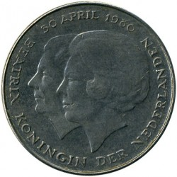 Moneda > 1florín, 1980 - Países Bajos  (Coronación de la Reina Beatriz) - obverse